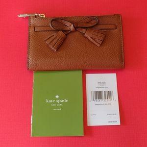 Kate Spade Hayes Brown & Red Wallet New